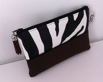 Zebra brown suede and faux printed leather clutch
