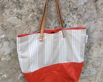 """Linen cotton and orange """"ticking"""" tote bag"""