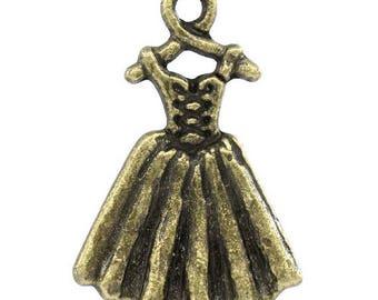 1 bronze charm hanging dress 21 x 14 mm