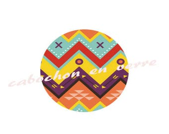 "Series ""BOHO CHIC"" 1 glass Cabochon 25 mm"