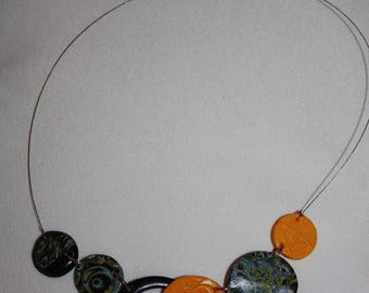 Silver Black Yellow polymer clay necklace