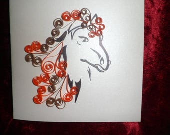 quilling pattern horse birthday card