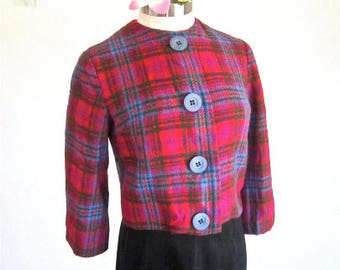 M L 50s 60s Wool Plaid Cropped Jacket Red Blue Green Mid Century Mad Men Classic Soft Medium Large