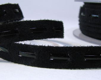 Ribbon, lace fancy suede with faux leather, 10 mm, Black Lace, sold by the yard.