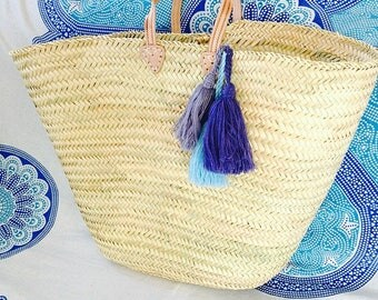 SACHA- XL Straw Basket - Leather Handle - Laundry Basket- Storage Box-  Wool Tassel- Bohemian Hippie Home Decor -