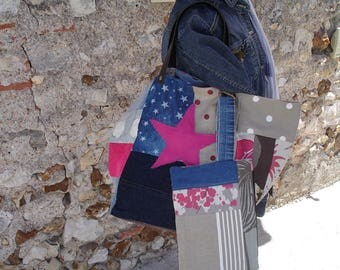Denim and patchwork fabric tote bag & pouch