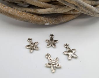 10 charms small silver flowers