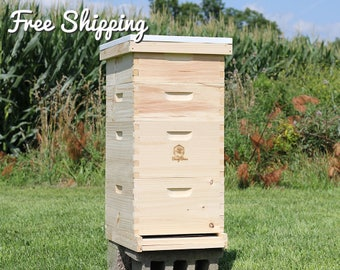 Bee Hive 10 Frame Langstroth - (2) Deep Brood Boxes & (2) Medium Super Boxes includes Frames / Foundations