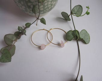 Earrings gold plated hoops and rose quartz
