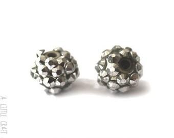 """3 pearls rhinestone """"shamballa"""" 12mm - grey / silver"""