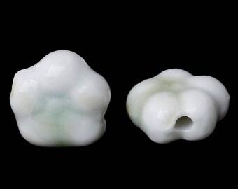 3 white ceramic flower beads