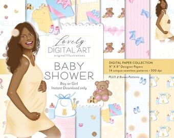 African American Baby Shower Patterns - African American Baby Shower Paper Pack - Pregnancy Paper Pack - Baby Shower Digital Downloads