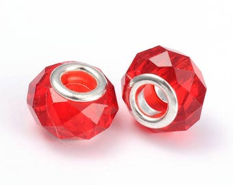 Charms red 14 mm beads