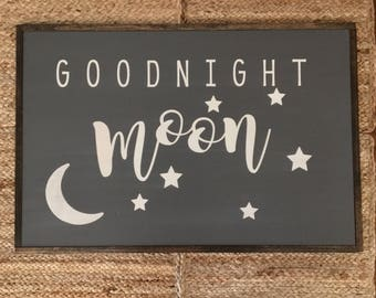Goodnight Moon wood painted sign