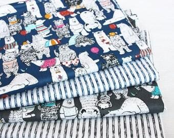 cut 4 x 160x50cm stripe pattern fabric 100% cotton patchwork bear geometric animal