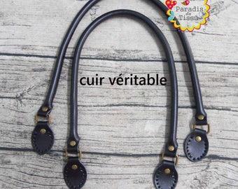 1 pair strap handle length 72 cm black genuine leather bag handle
