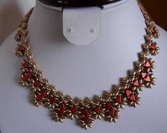 MADE WITH RED BEADS AND GOLD MATTE