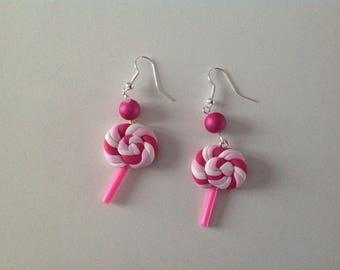 Earrings lollipop - pink and fuschia