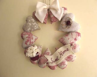 Christmas - Wreath hearts, cosy, romantic, shabby chic, French toile de Jouy, lace, beads, unique, handmade, France, passionnementseize