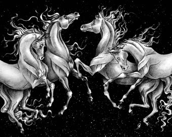 Dark Horses - Drawing - Space - Equine Art - Arabian Horses - White Horses - Horse Art - Darkness - Printable Art - Print - Download