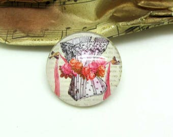 1 cabochon 25 mm glass pink 2-25 mm Corset