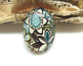 1 cabochon oval 25 mm flower khaki and blue glass - 25 * 18 mm