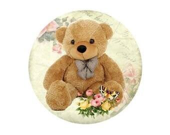 1 cabochon 25 mm glass Teddy Bear brown bear - 25 mm
