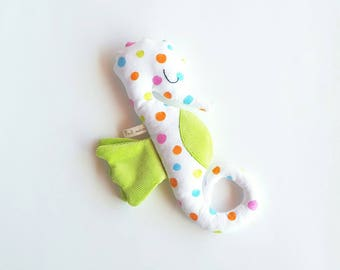 Handmade Plushie Hippolyte seahorse with multicolor polka dots