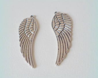 2 charms / pendants wings - silver aged