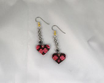 Origami heart swarovski crystal earrings