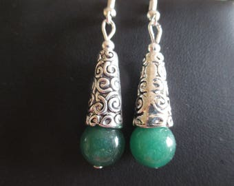 pair of aventurine and dome earrings