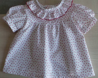 12 months in white cotton blouse Red