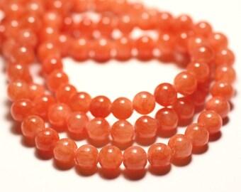20pc - beads - Jade balls 6mm Orange Tangerine - 8741140016743