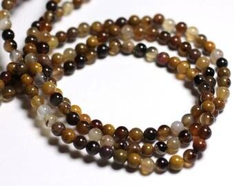 10pc - stone beads - wood fossil balls 4mm - 8741140000612