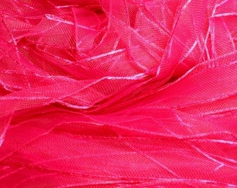 1pc - skein 90 meters - 10mm 4558550007872 Fuchsia pink Organza fabric Ribbon