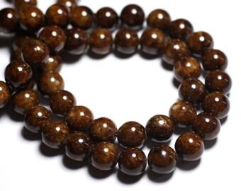 10pc - beads - Jade balls 10mm Brown ochre - 8741140001152