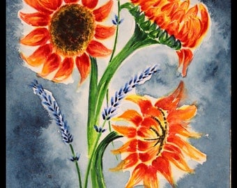 Original illustration painted with watercolors on ARCHES 300 g/m²tournesol & Lavender sold vande
