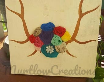 Deer antlers with flowers/Hand painted with rustic look W/FREE SHIPPING