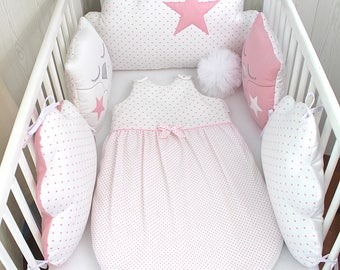 Baby sleeping bag, to match cot bumpers, 1 - 8 months, white and pale pink