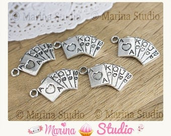 Set of 5 Silver poker charms: straight royal flush! 25x18mm
