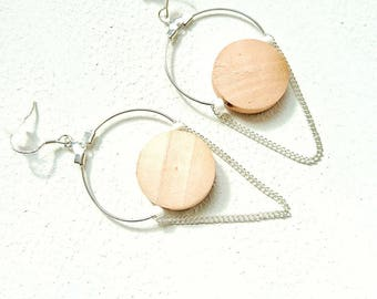 Hoop earrings - wood bead / white acrylic - silver chain