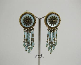 Earrings clip mother of Pearl, seed beads, Czech glass