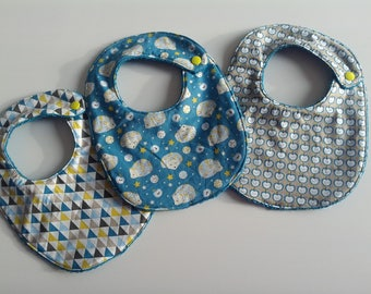 fabrics and teal Terry baby bib patterns Hedgehog, Apple and trianglefermeture pressure size 0-6 months