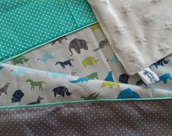 Blanket minkee fabric and cotton theme animal origami