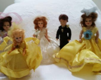 Duchess dolls wedding party: bride, groom, flower girl and two Bridesmaids in the original clothes