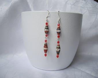 Long paper bead earrings