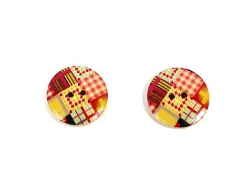"Wood spirit ""patchwork"" X 2 piece print patterned buttons"