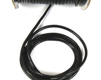 Waxed cord black 3 X 1 mm snake skin appearance meter