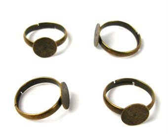 Supports rings brass BRONZE antique 17 mm X 4 pieces