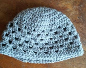 baby wool Beanie gray crochet